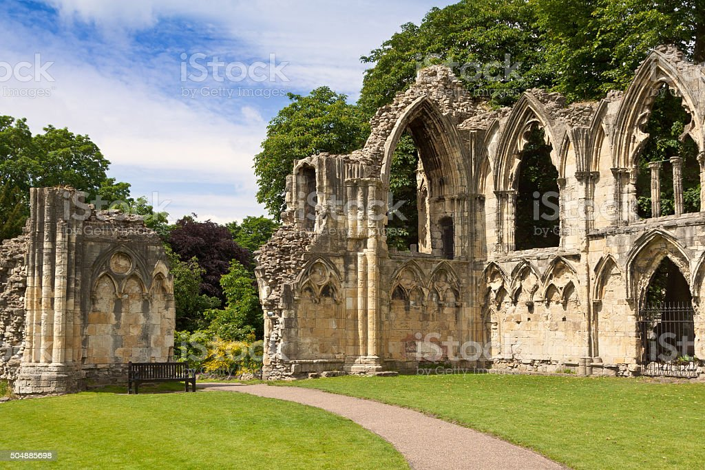 St Mary's Abbey ruins, next to Yorkshire Museum, York, England. stock photo