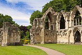 St Mary's Abbey ruins, next to Yorkshire Museum, York, England.