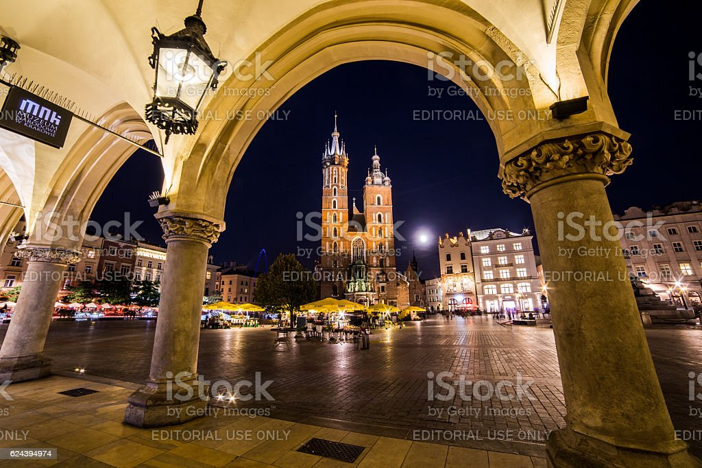 St. Mary's Basilica, shops and buildings on Rynek Glowny stock photo