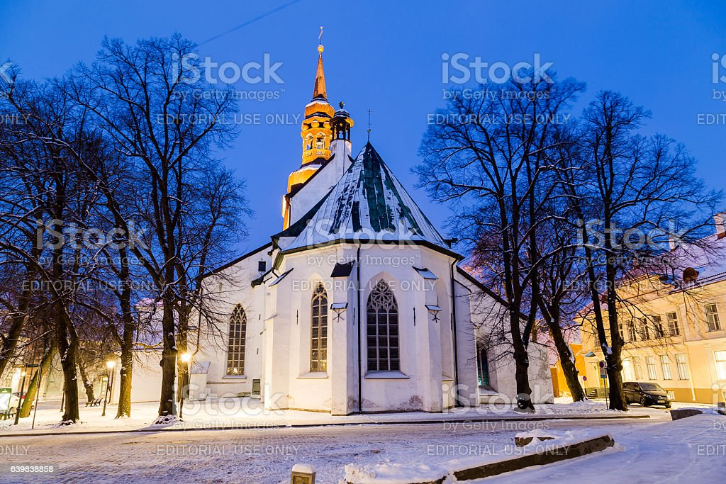 St Mary's Cathedral in Tallinn at dawn stock photo