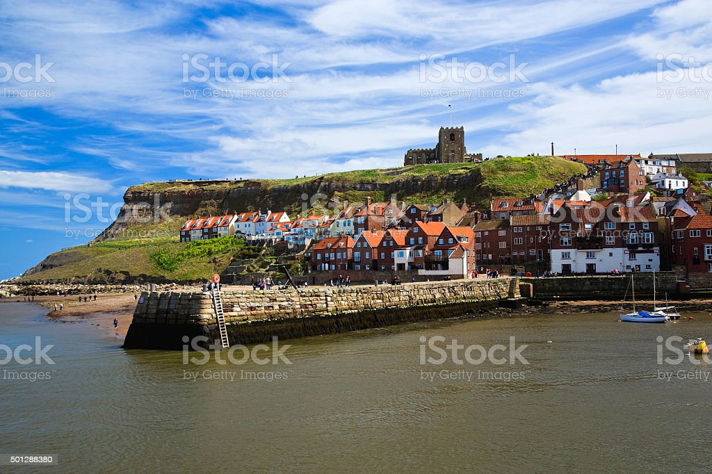 St Marys Church above whitby town stock photo