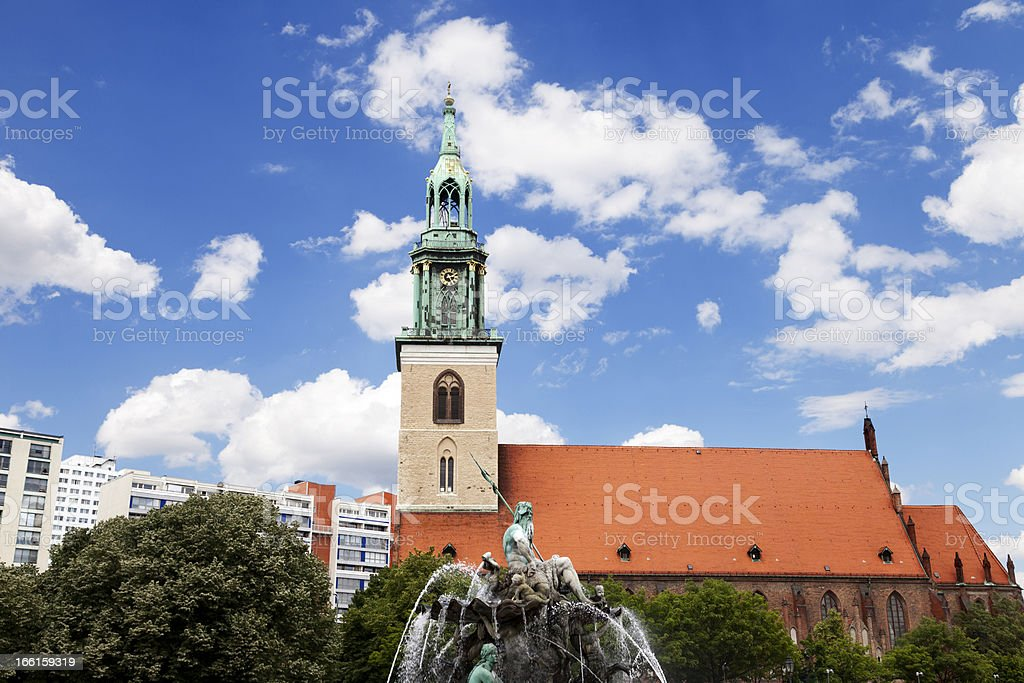 St. Mary's Church (Marienkirche) and Neptune Fountain, Alexander platz Berlin stock photo