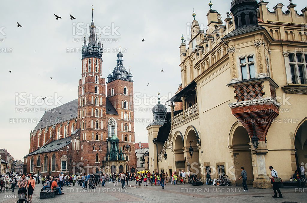 St. Mary's Church and sukiennice museum in Krakow stock photo