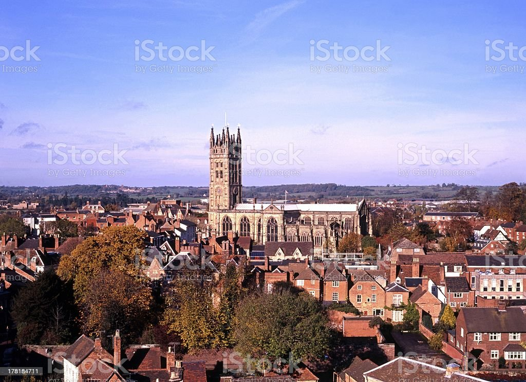 St Mary's church and town, Warwick England. stock photo