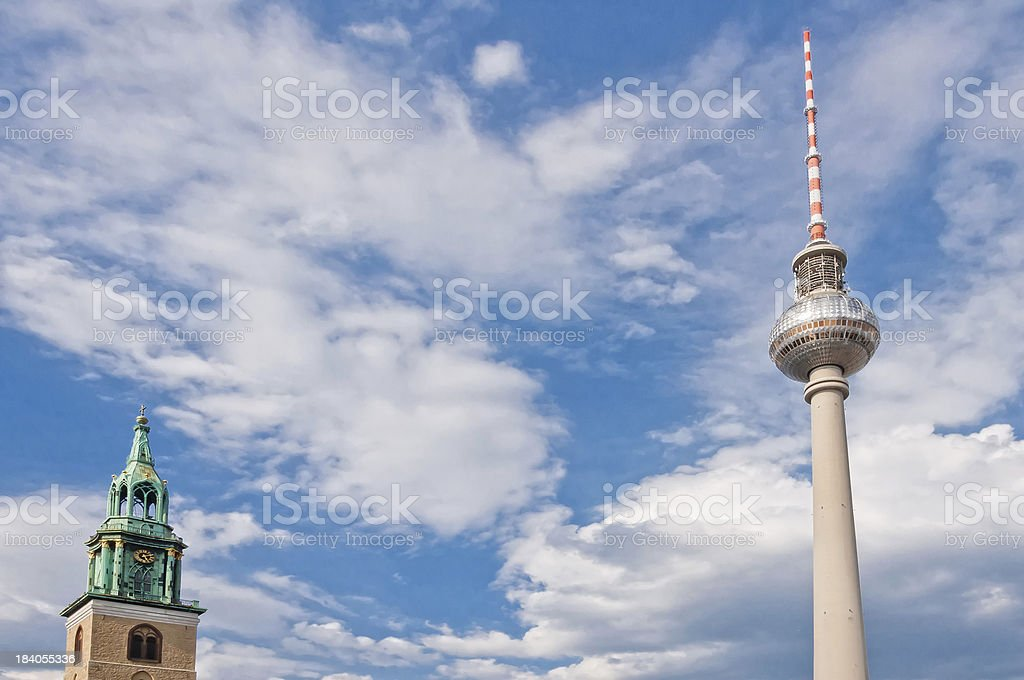 St. Mary's Church and TV tower in Berlin - Germany royalty-free stock photo