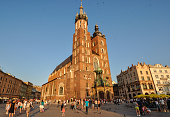 St. Mary's Church at sunset in Krakow, Poland.