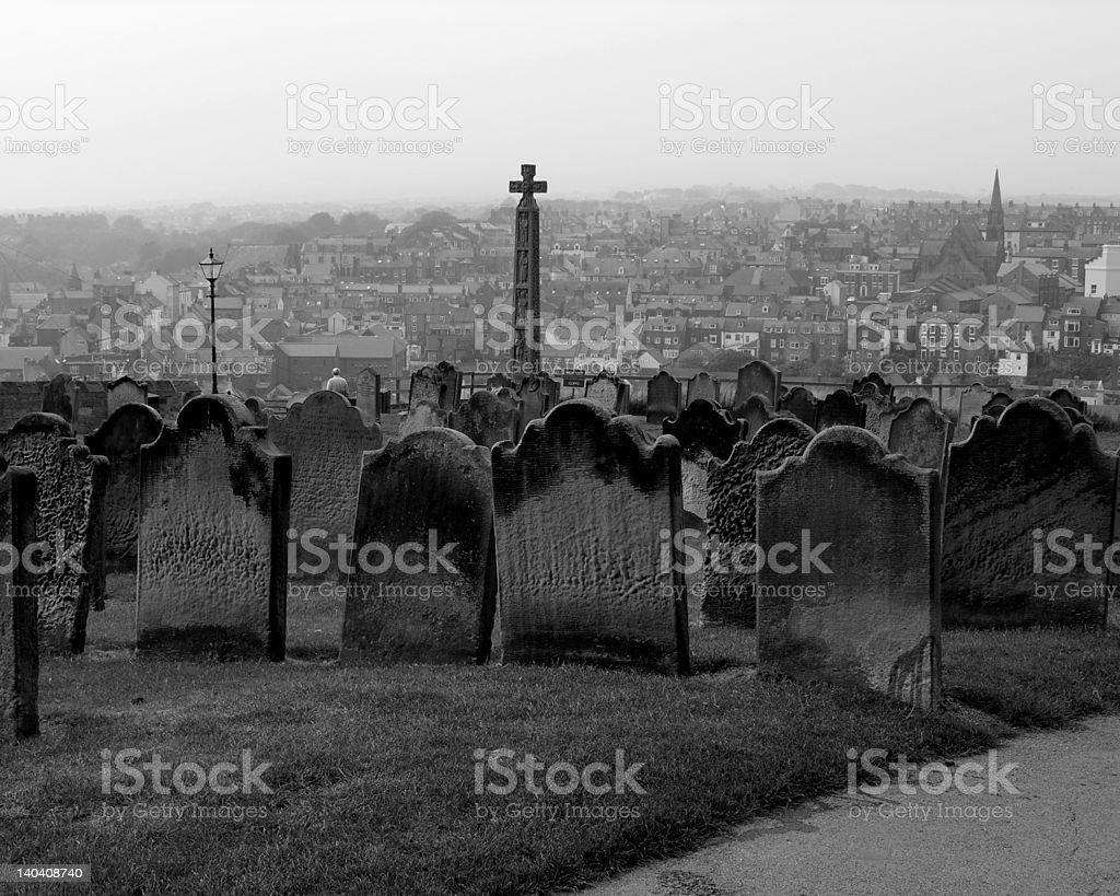 St Marys Church Graveyard, Whitby Abbey. stock photo