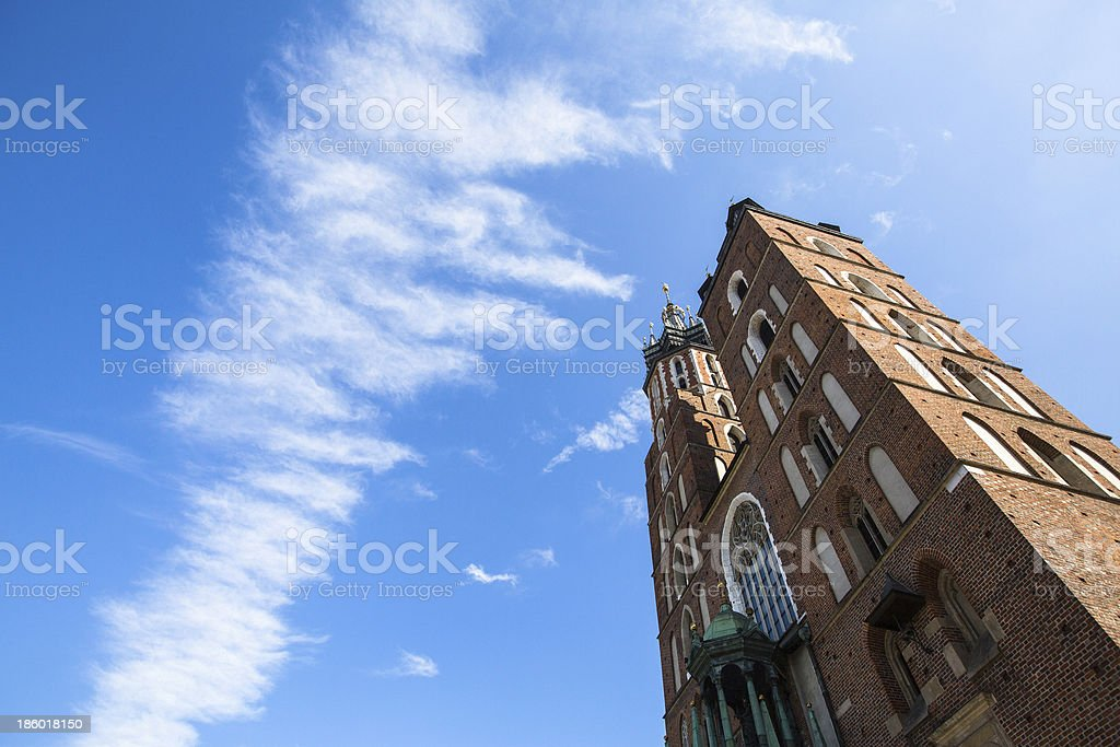St. Mary's Church in historical center of Krakow, Poland. stock photo
