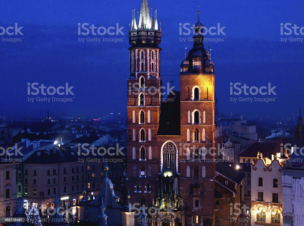 St. Mary's church in Krakow at night stock photo
