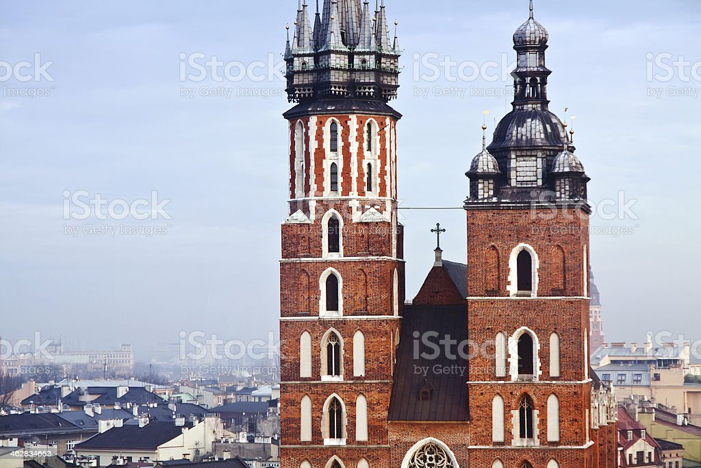 St. Mary's church in Krakow stock photo