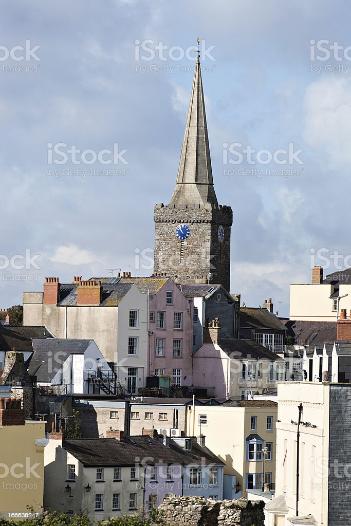 St. Mary's Church Steeple over Tenby stock photo