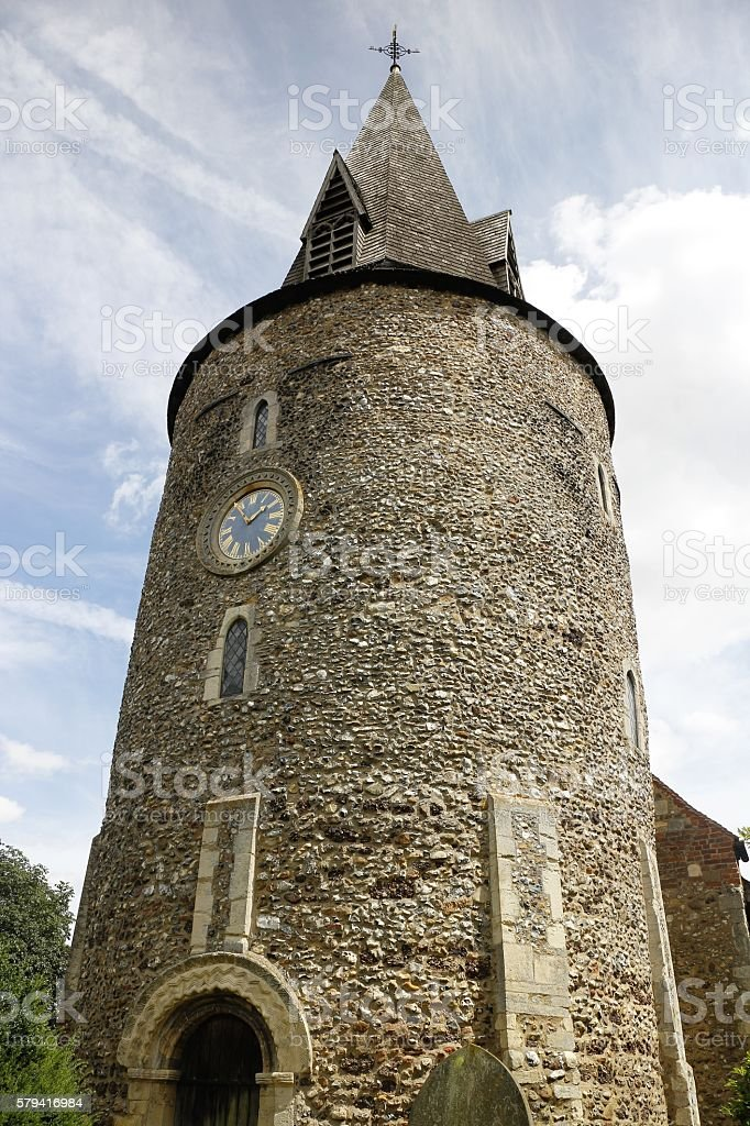 St Mary's Church Tower in Great Leighs, Essex stock photo