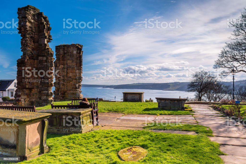 St Mary's Graveyard looks over South Bay stock photo