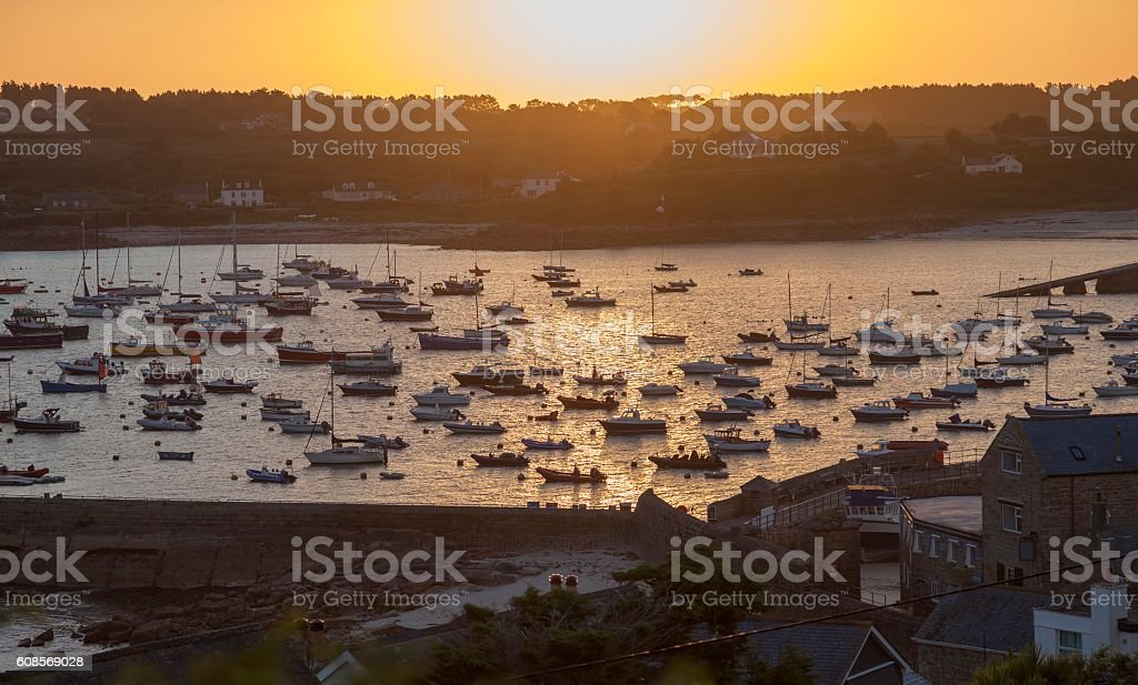St Mary's Harbour at dawn stock photo