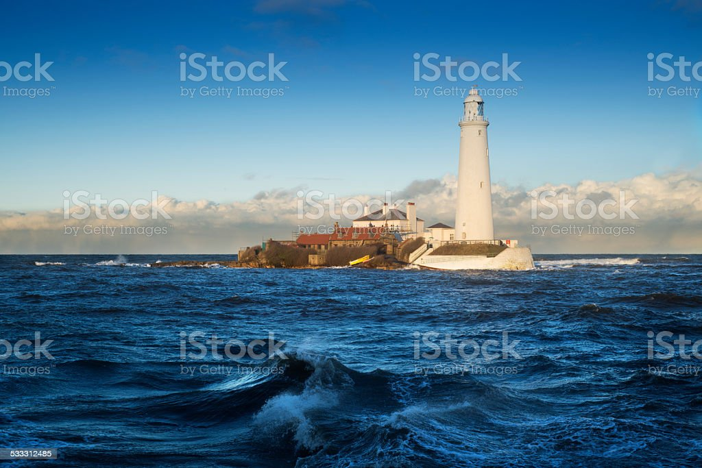 St Mary's island on unsual high tide royalty-free stock photo