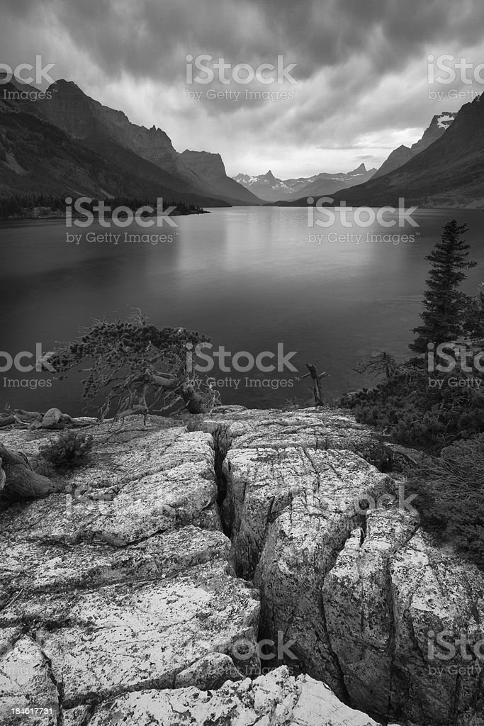 St. Mary's Lake Black and White royalty-free stock photo