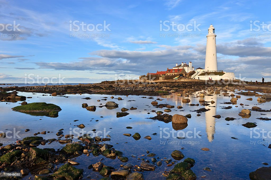 St Mary's lighthouse during the day stock photo