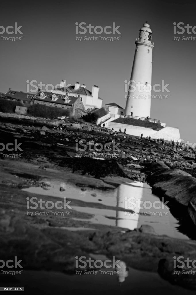 St Mary's lighthouse on St Mary's Island stock photo