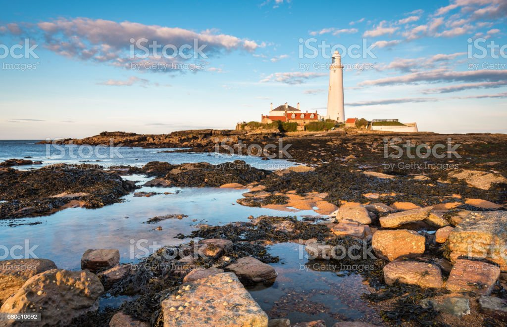 St Mary's Lighthouse Rock Pools stock photo