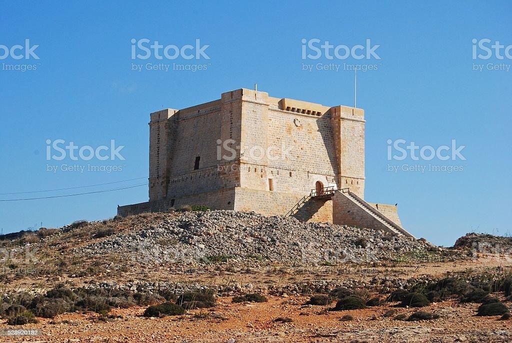 St Mary's Tower on Comino island, Malta. stock photo