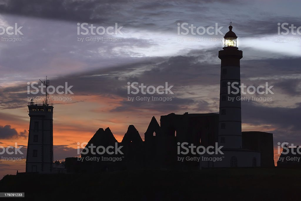 st Mathieu lighthouse at dusk royalty-free stock photo