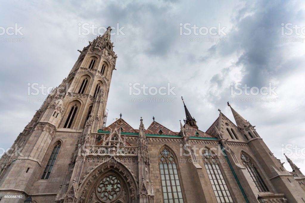 St. Matthias Church in the Fisherman's Bastion in Budapest, Hungary stock photo