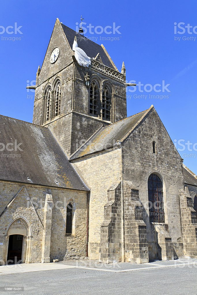 St. Mere Eglise, Normandy, France royalty-free stock photo