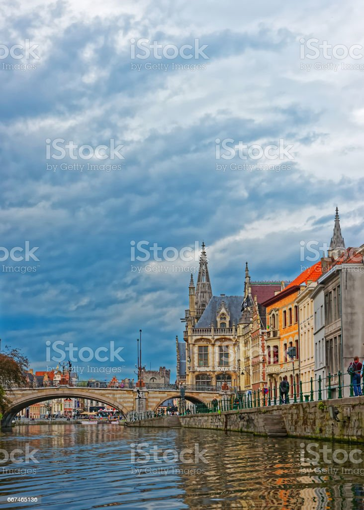 St Michael Bridge and Former Post Office in Ghent stock photo