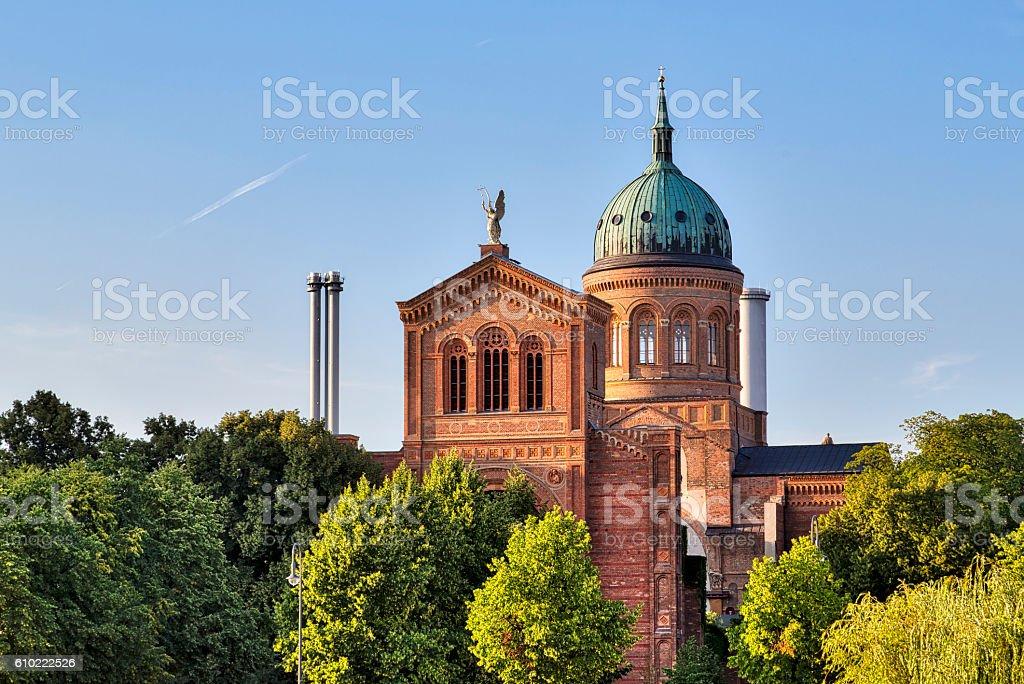 St. Michael Church, Berlin Kreuzberg in summer stock photo