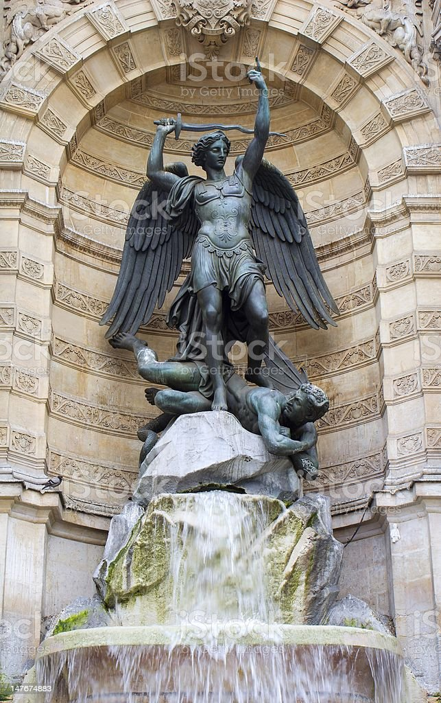 st. Michael fountain in Paris royalty-free stock photo