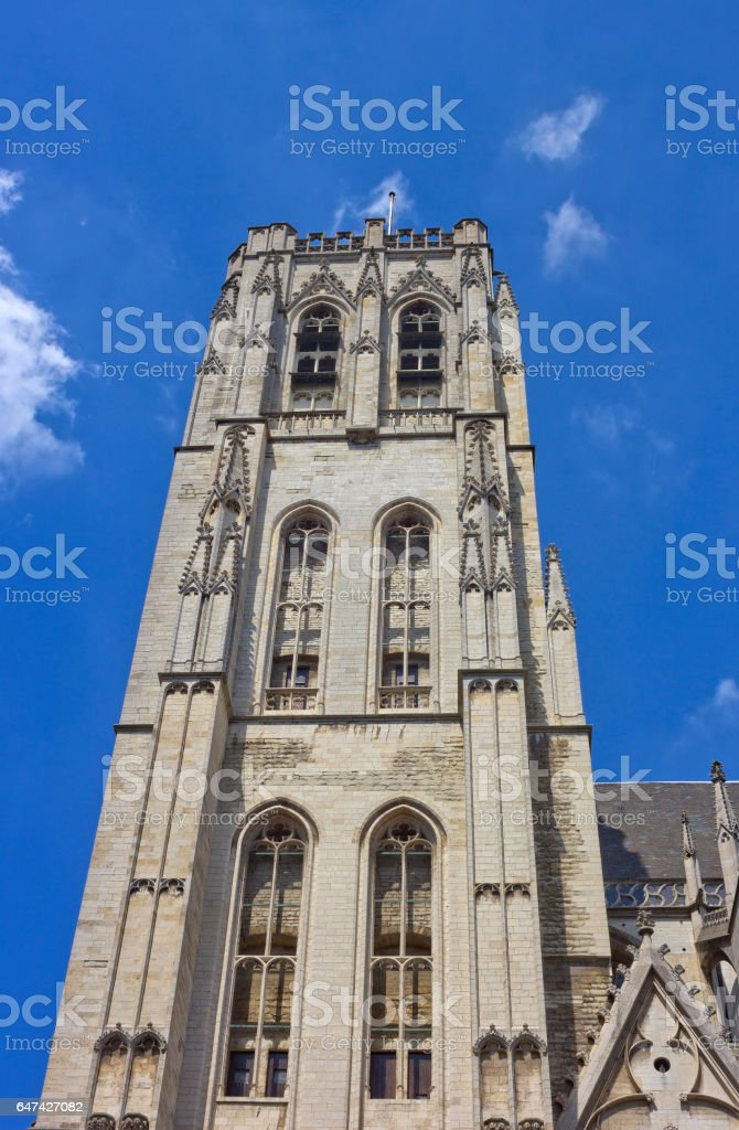 St. Michael & St. Gudula Cathedral bell tower in Brussels, Belgium stock photo