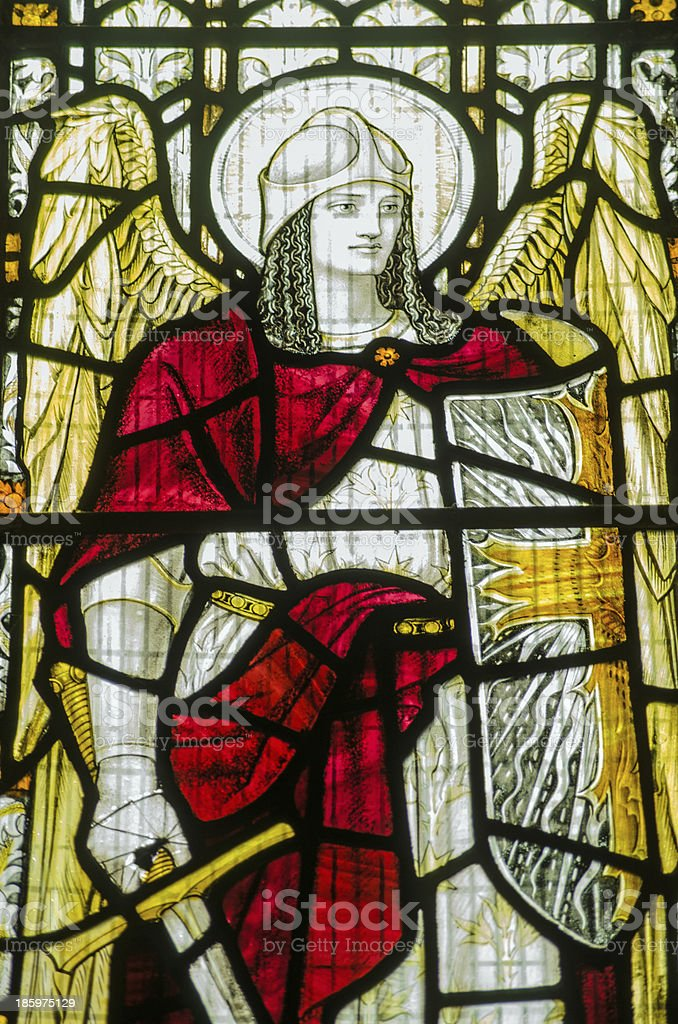 St Michael stained glass window stock photo