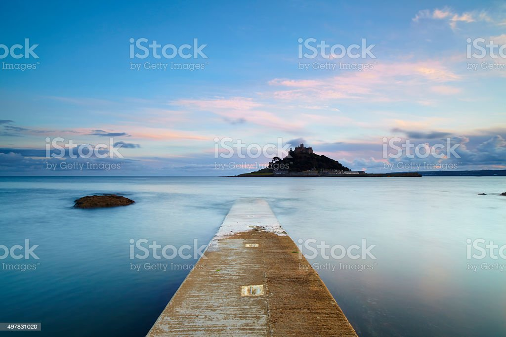 St Michael's Mount At Dawn Long Exposure stock photo