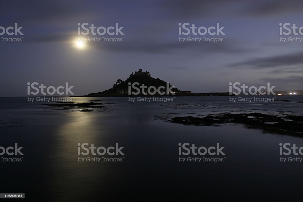 St Michael's Mount at night stock photo