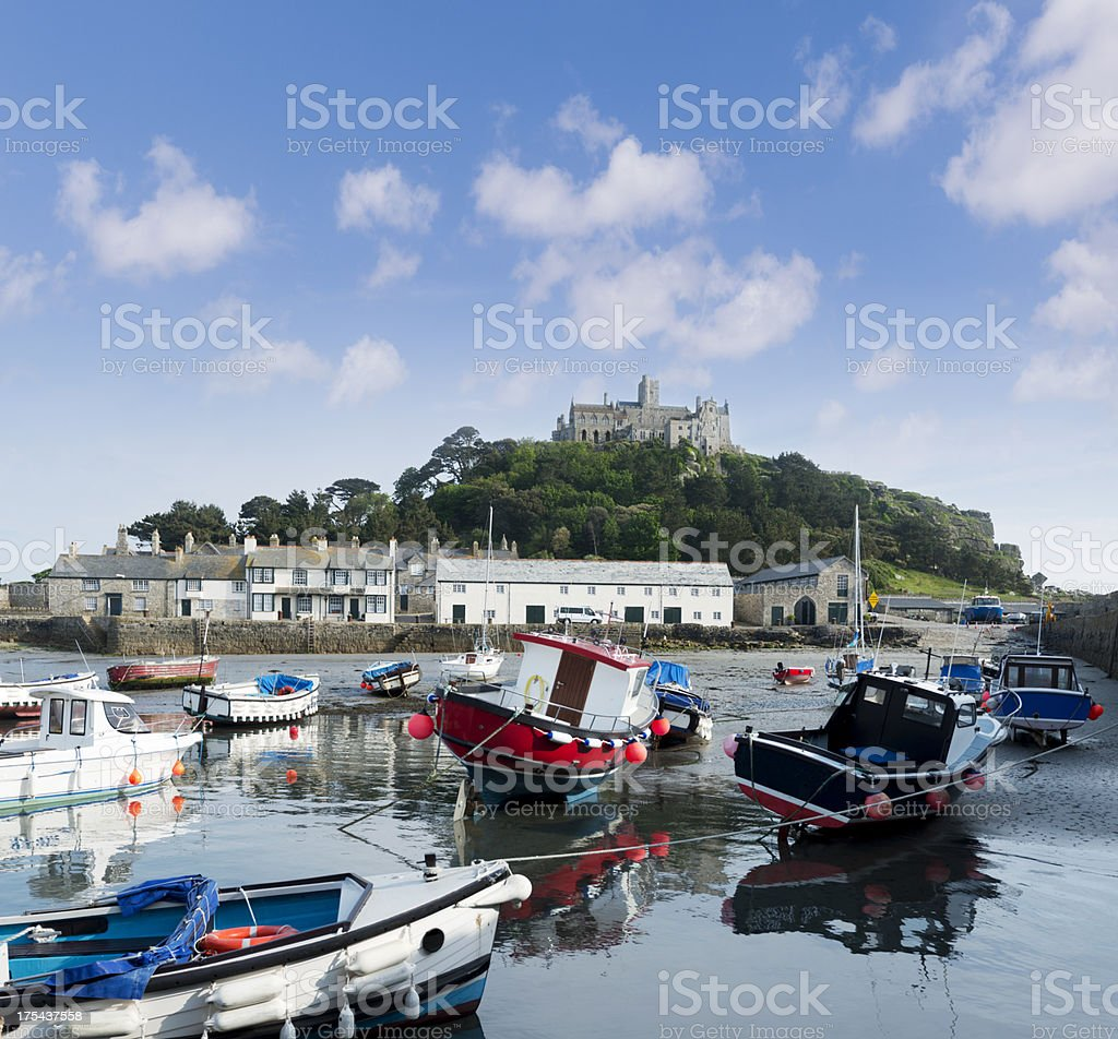 St Michael's Mount Harbour in Cornwall UK stock photo