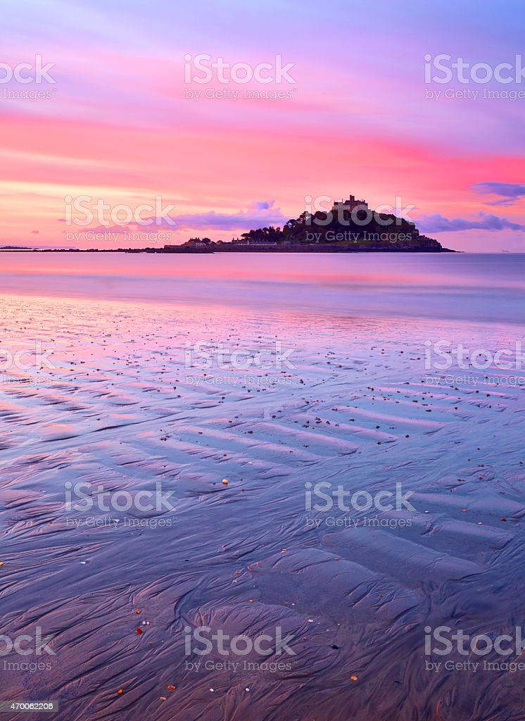 St Michael's Mount In Cornwall At Dawn stock photo