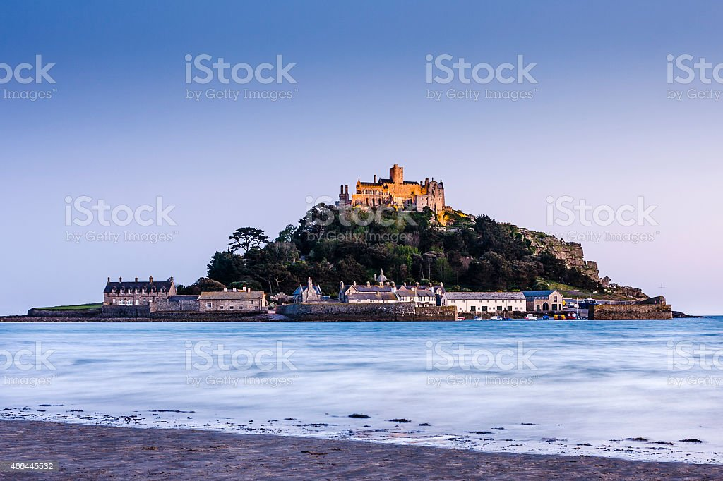 St Michael's Mount in Cornwall at dusk stock photo