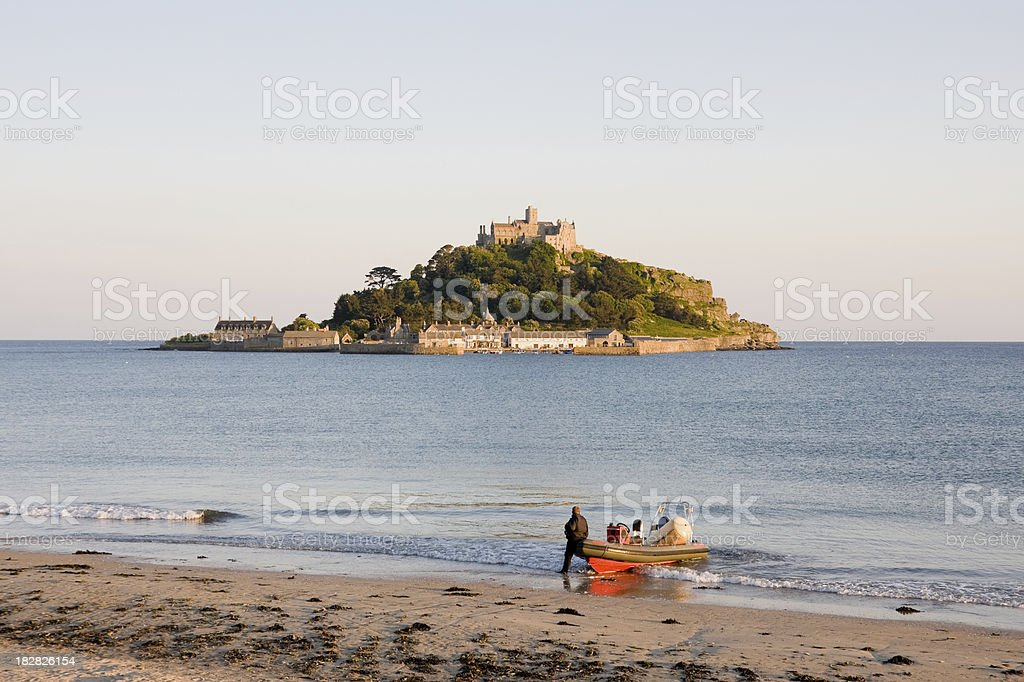 St Michael's Mount in Cornwall from the beach near Marazion royalty-free stock photo