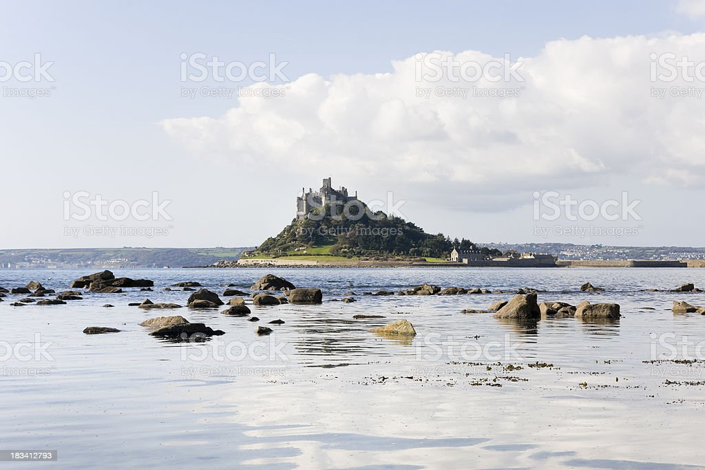 St Michael's Mount in Cornwall from the shore near Marazion stock photo