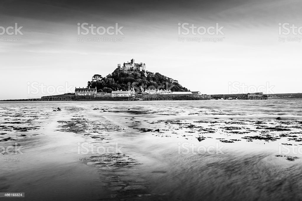 St Michael's Mount in Cornwall in black and white stock photo