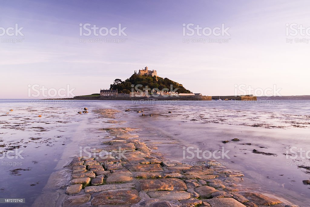 St Michael's Mount in Cornwall long exposure at dusk stock photo