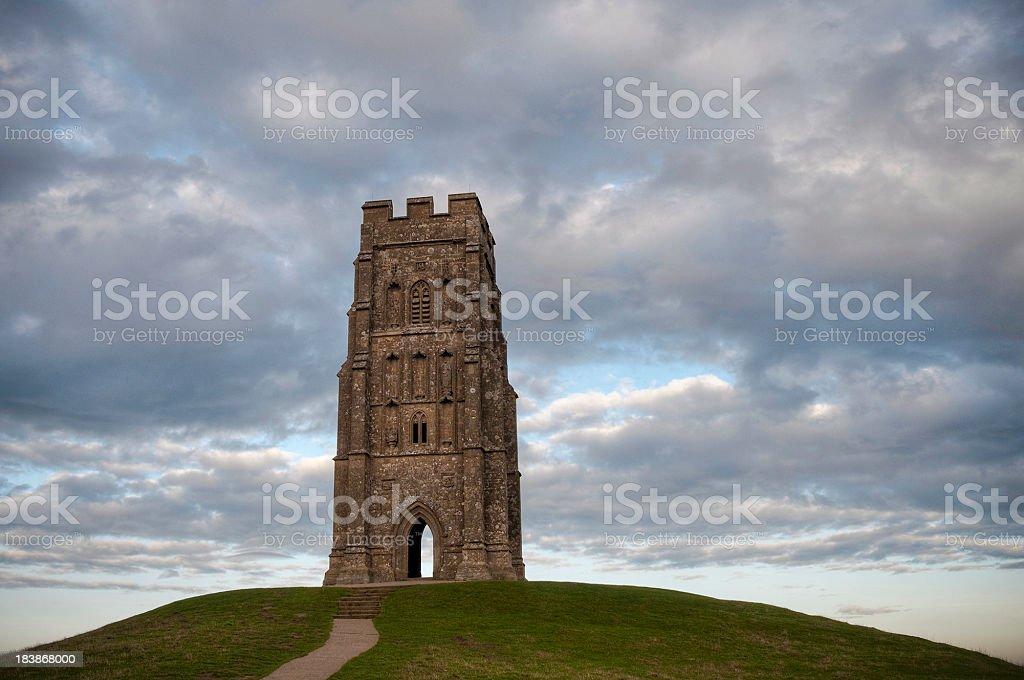 St Michael's Tower, Glastonbury Tor, Somerset, UK stock photo