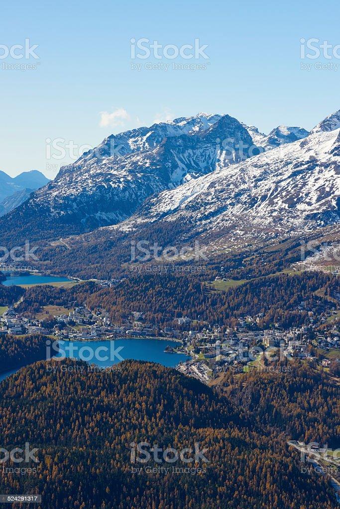 St. Moritz from Punt Muragl stock photo