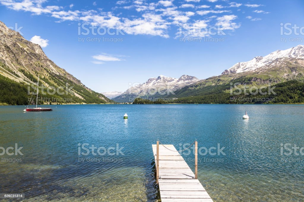 St Moritz in the alps mountains in Switzerland stock photo