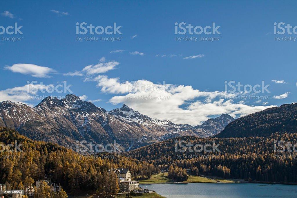 St. Moritz lake stock photo