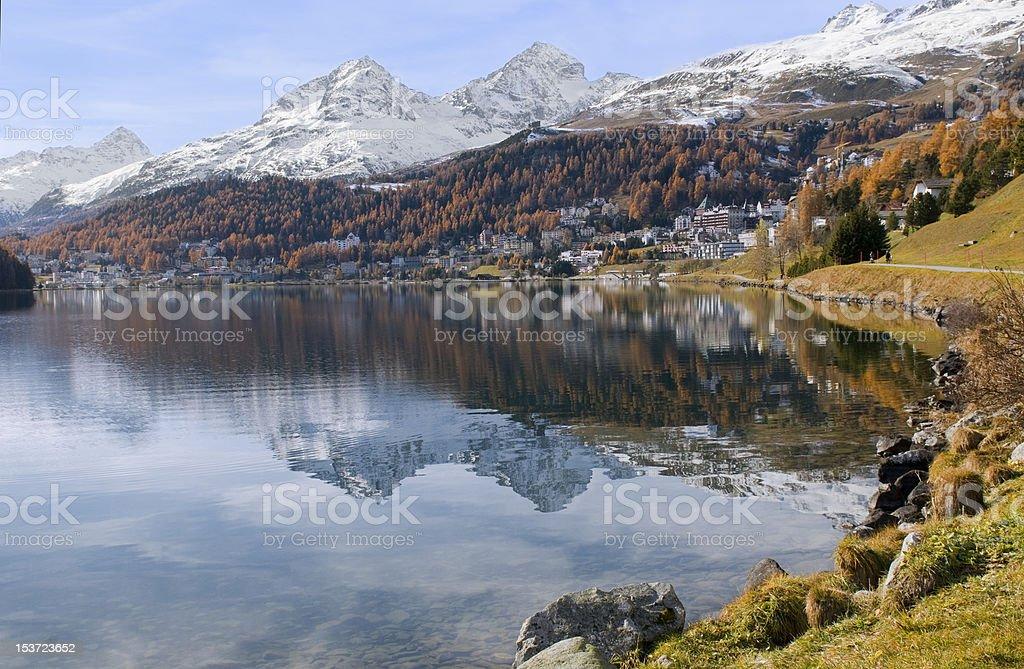 St. Moritz Lake with Snow Mountain royalty-free stock photo