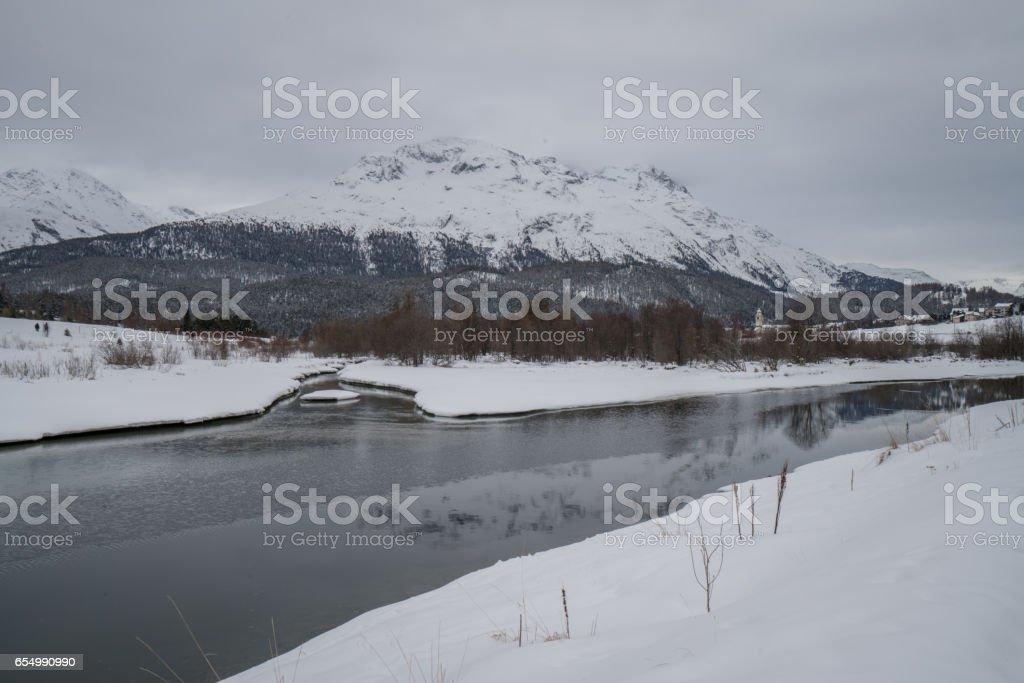 St Moritz landscape in winter stock photo