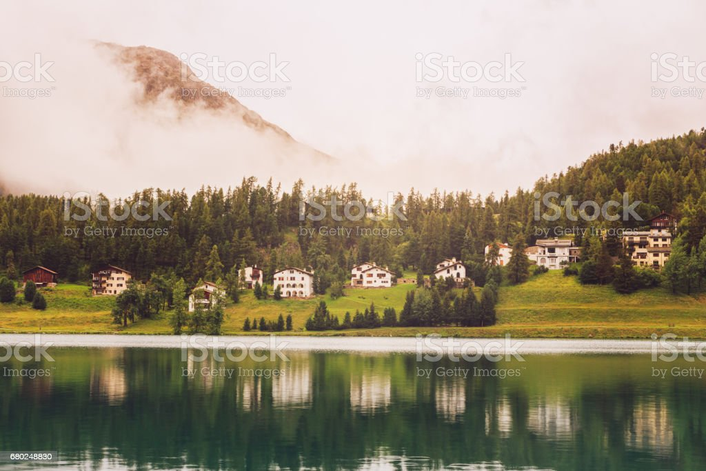 St. Moritz mountain lake in summer (Grisons, Switzerland) stock photo