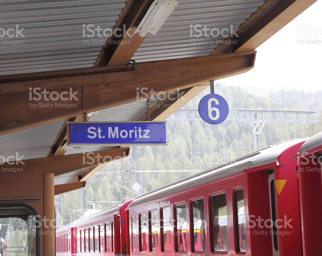 St Moritz railway station stock photo