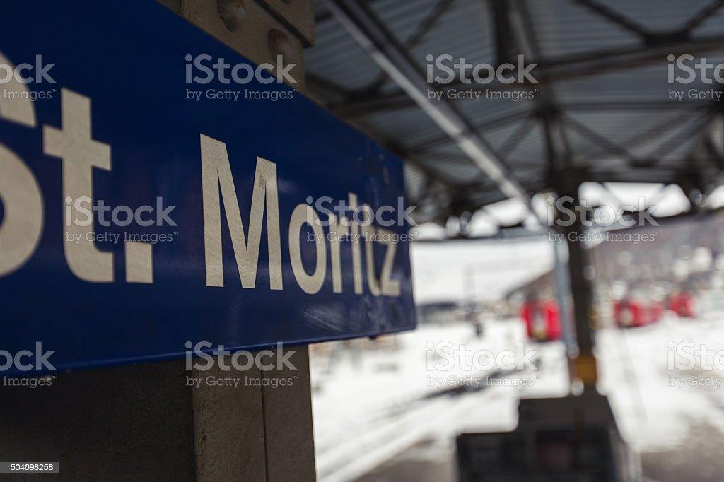 St. Moritz sign stock photo